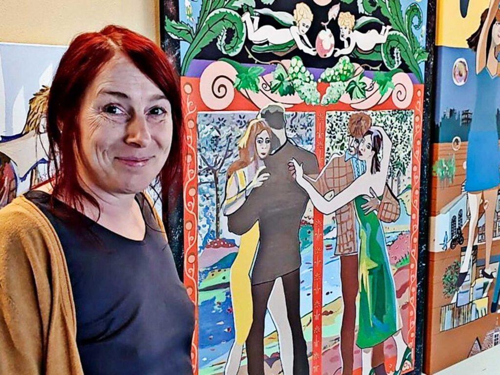 Carrin Bierbaum zeigt nun zum zweiten Mal in einer Ausstellung in Böhlen ihre Werke. Quelle: Christiane Fuhrmann